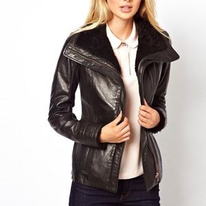 NWT Ted Baker Shearling Leather Jacket Rose Gold